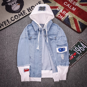 Casual Faux Pocket Ripped Letter Number Applique Hooded Jacket - freakichic