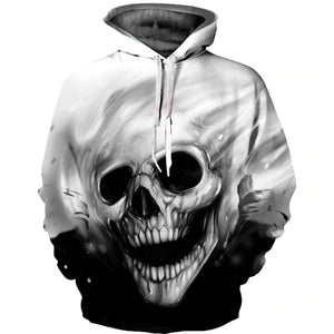 Men Melted Skull 3D Full Print Novelty Hoody Sweatshirt - freakichic