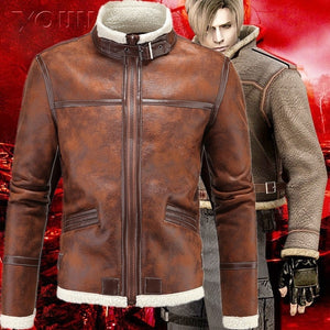 New Men's Fashion Coat Warm Motorcycle Leather Waterproof Jacket