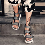 Vintage Mens Buckle Strap Gladiator Flats Leather Roma Sandals Studded Shoes