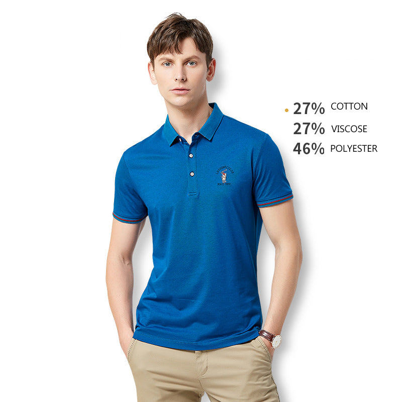 2019 Business Solid Color Polo Shirt Men Mercerized Cotton Lapel Short Sleeve T-Shirt - freakichic
