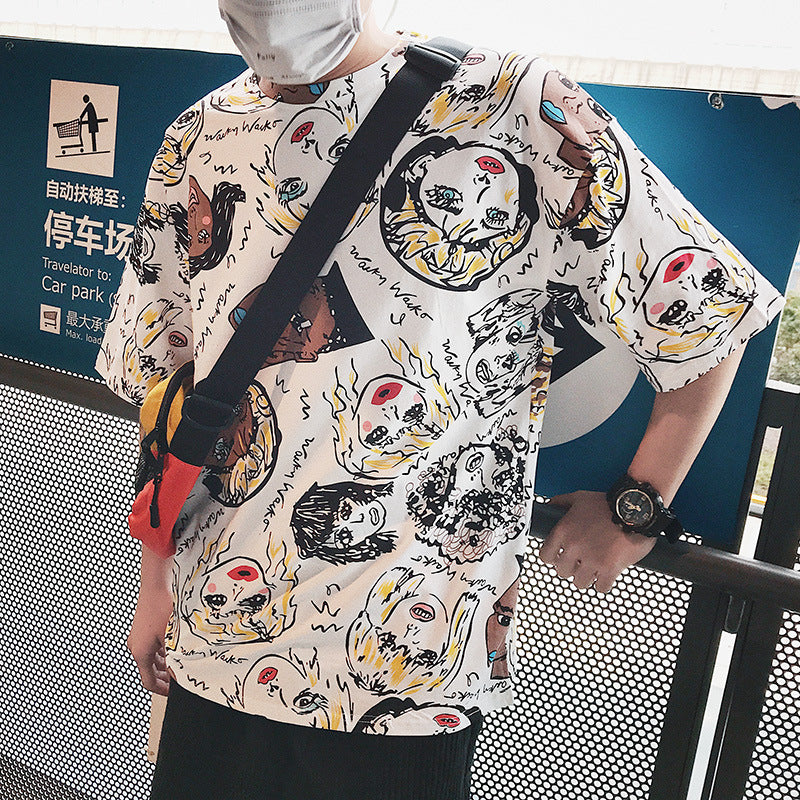 2019 men's hip hop loose color doodle short-sleeved t-shirt - freakichic