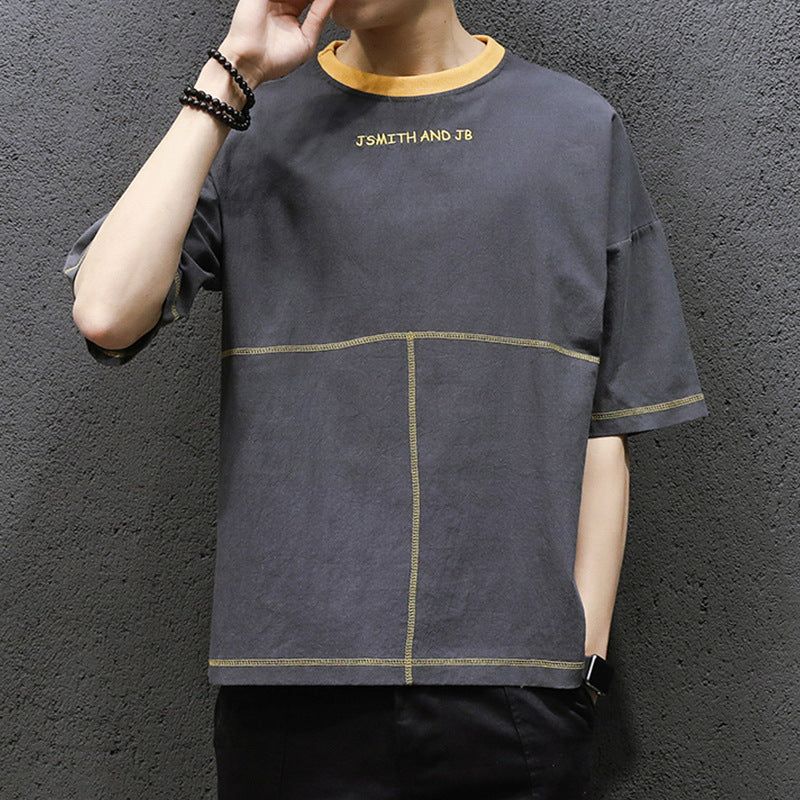 2019 new loose solid color men's short-sleeved T-shirt - freakichic