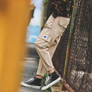 Tide brand multi-pocket loose beam casual pants
