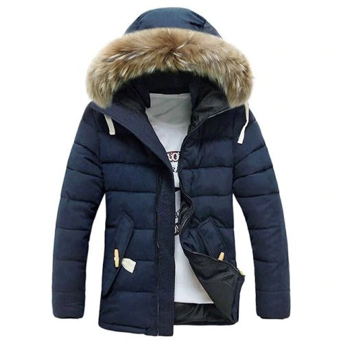 Button Pocket Zip Up Faux Fur Hooded Quilted Coat - freakichic