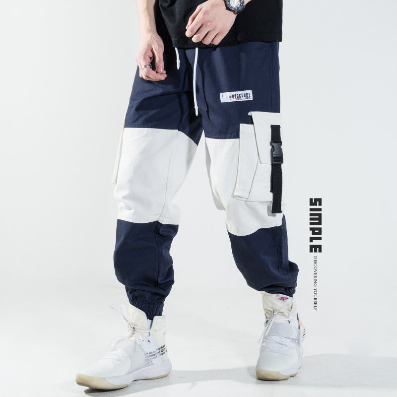 Hip-hop multi-pocket Japanese casual pants stitching pants - freakichic