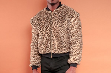 Load image into Gallery viewer, Leopard Faux Fur Bomber Jacket