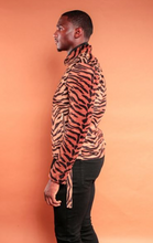 Load image into Gallery viewer, Tiger Print Velvet Moto Jacket
