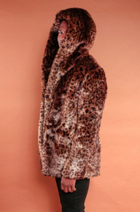Cheetah Hood Trench Coat