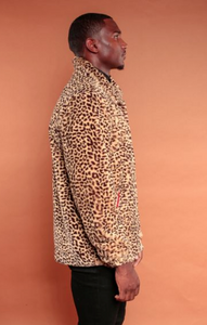 Faux Fur Animal Print Coach Jacket
