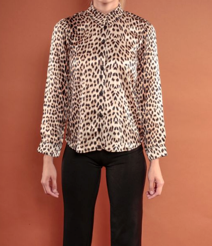 Silk Animal Print Blouse