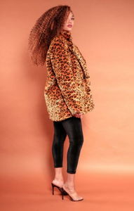 Faux Fur Cheetah Print Over Size Blazer