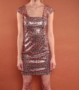 Animal Print Shoulder Strap Mini Dress