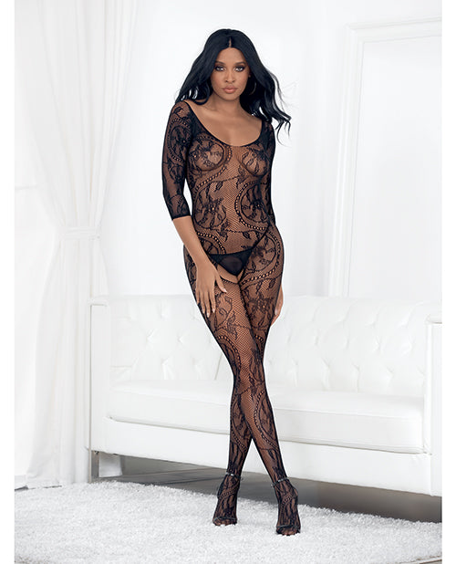 Lace 3-4 Sleeve Open Crotch Bodystocking O-s