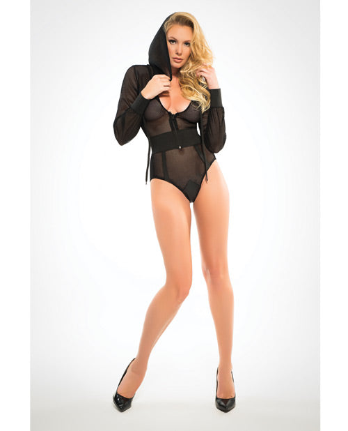 Adore Fishnet Body W/hoodie & Cut Out Back Black