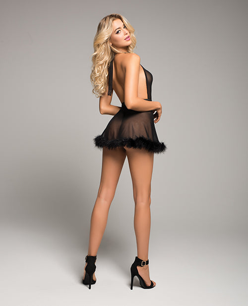 Candy Sweet Babydoll W/marabou Trim & G-string Black