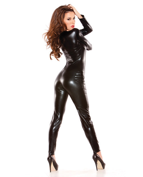 Kitten Wet Look Catsuit Black O-s