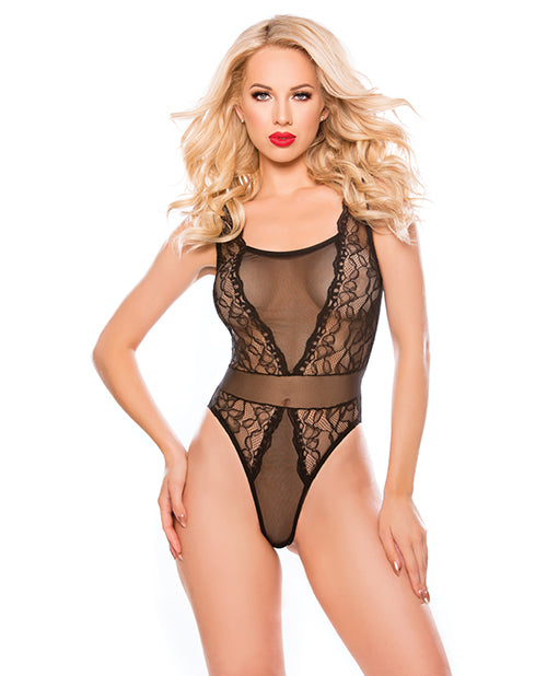 Kitten Rosalie Sheer Mesh & Galloon Lace Teddy Black O-s