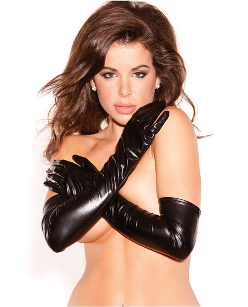Kitten Wet Look Sexy Seduction Gloves Black O-s