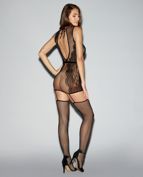 Fishnet & Knitted Lace Garter Dress W-open Back & Attached Thigh Highs Black O-s