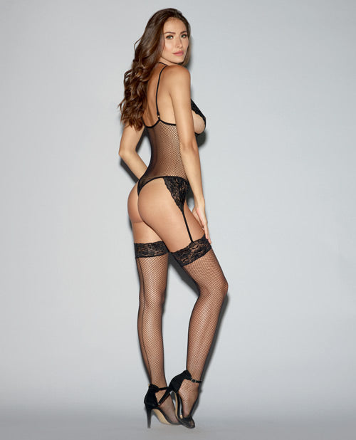 Lace Trimmed Fishnet Teddy W-Straps, Thigh Highs & Garters O-s