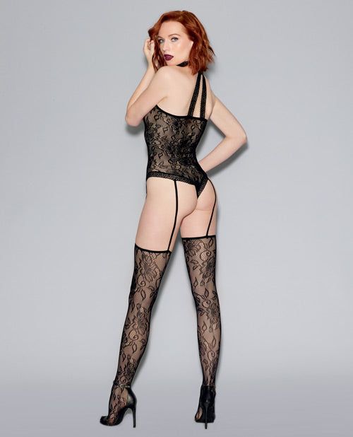 Lace Teddy Bodystocking & Attached Thigh Highs O-s