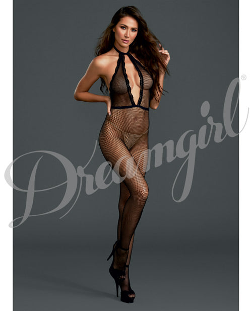 Fishnet Halter Bodystocking O-s