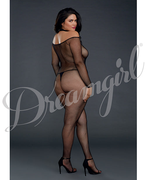 Fishnet Off The Shoulder Bodystocking Qn