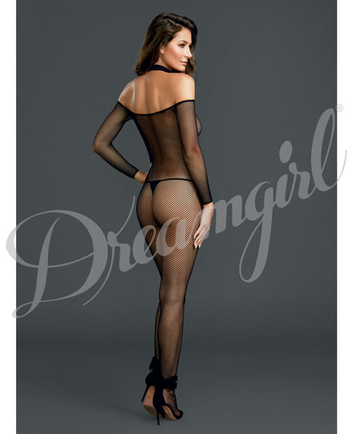 Fishnet Off The Shoulder Bodystocking O-s