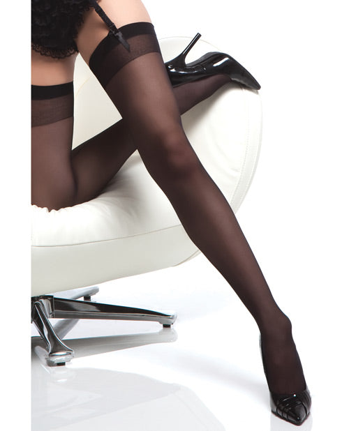 Sheer Thigh High Stocking W/back Seam Black O/s