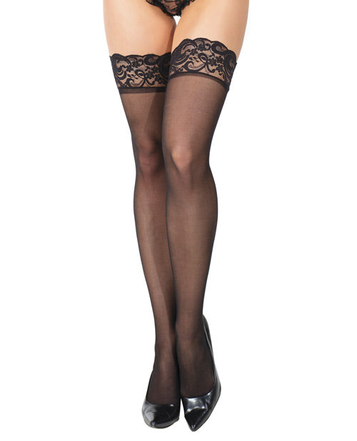 Sheer Stay Up Silicone Lace Top Thigh High W-bow Center Back Seam Black O-s