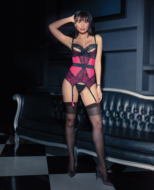 Powernet Bustier W/padded Demi Cup, Removble Belt & Garters Hot Pink/black