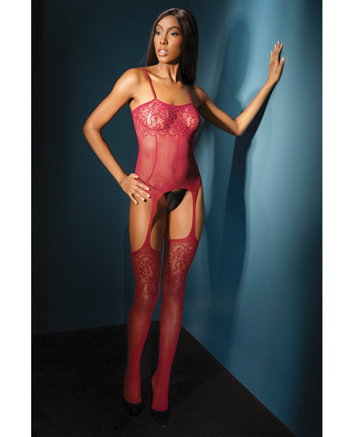Sleek Seamless Stretch Net Cami Top W/lace Print Detail & Attch. Stockings Black O/s