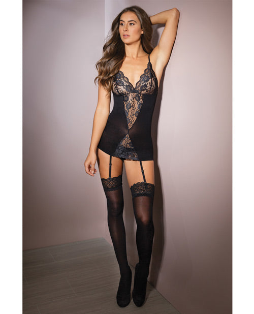 Sleek Stretch Lace Chemise W-garters & Stockings Black O-s