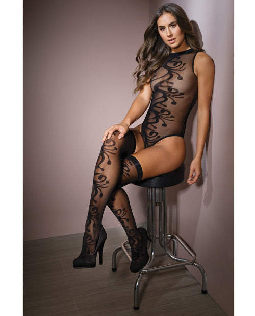 Sleek Sheer Nylon High Neck Teddy W-print & Stockings Black O-s