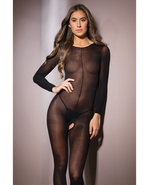 Sleek Sheer Nylon Long Sleeve Bodystocking Black O-s