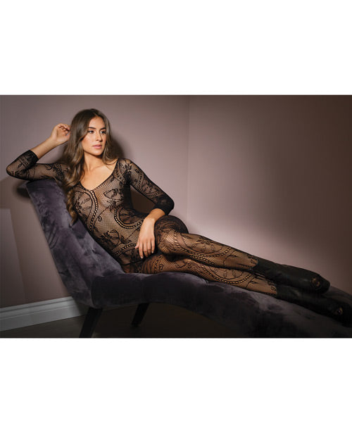 Sleek Seamless Stretch Net Lace Print Long Sleeve Bodystocking Black O-s