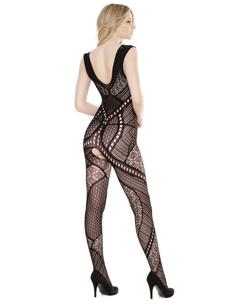 Sleek Seamless Stretch Net Patchwork Print Bodystocking Black O-s