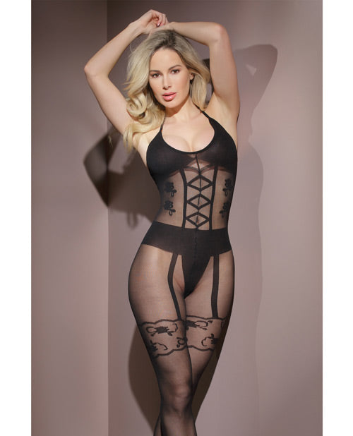 Sleek Sheer Nylon Opaque Print Bodystocking White O/s