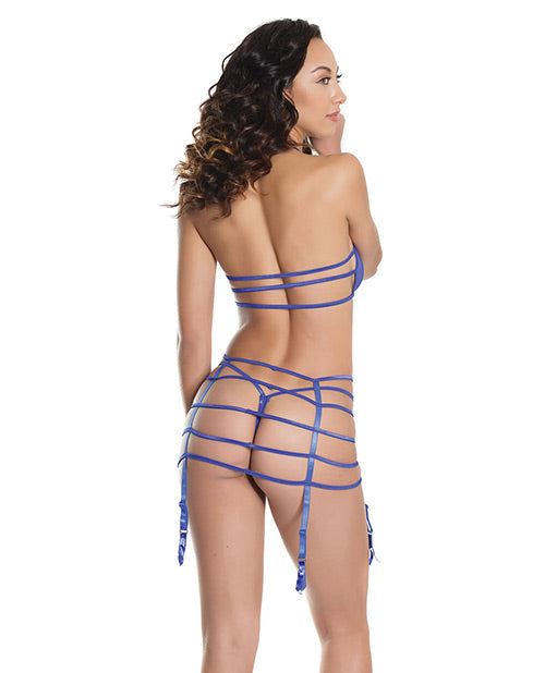 Bold Bandeau Top, Strappy Garterbelt W-adjustable Straps & G-string Blue O-s