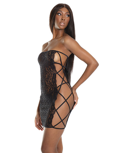 Bold Stretch Lace Versatile Tube Dress W/strappy Back (g-string Not Included) Black O/s