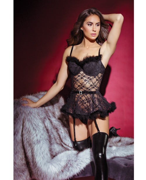 Holiday Sheer Lace Bustier W/removable Garters Black