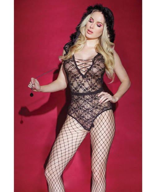 Valentine Fishnet Teddy W-snap Crotch & Hood (stockings Not Included) Black O-s
