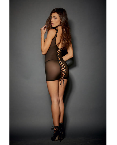 Lace & Stretch Spandex Mesh Chemise W/adjustable Ribbon & G-string Black