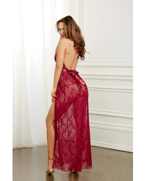 Garnet Lace Gown & G-string