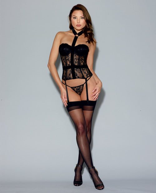 Fully-boned Lace Bustier, Removable/adjustable Garters & Thong