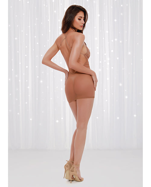 Holiday Sheer Stretch Mesh Chemise W-sequin Details (g-string Not Included) Mocha Lg