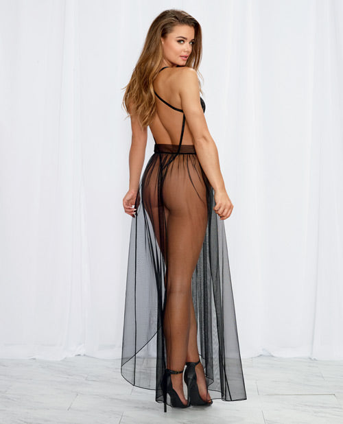 Stretch Lace Teddy & Sheer Mesh Maxi Skirt & G-string