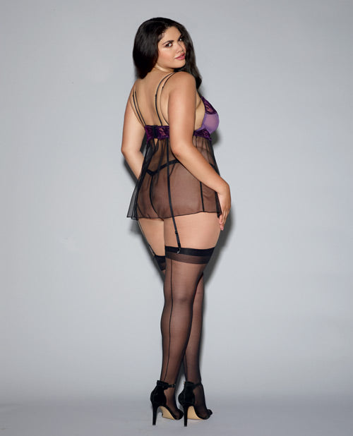 Plum Sheer Mesh Babydoll & G-string