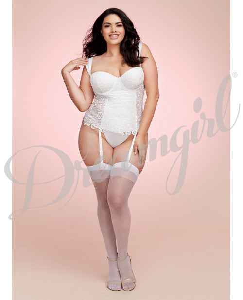 Lace Bustier & Mesh W/Satin Lining, Boning, Adjustable/removable Garters